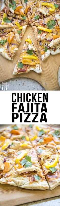 Chicken Fajita Pizza - This delicious pizza is full of flavor, with an easy to make crust using Rhodes Rolls, topped with salsa, cheese, grilled chicken, onions and peppers. YUM!