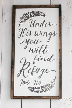 Under His Wings farmhouse wood signs 12x24. Available at Simply Sarah
