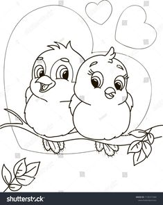 Coloring Page Outline Cartoon Cute Birds Stock Vector (Royalty Free) 1130377460 - kids cartoon Art Drawings For Kids, Pencil Art Drawings, Art Drawings Sketches, Bird Drawings, Disney Drawings, Cute Drawings, Drawing For Kids, Bird Coloring Pages, Coloring Books