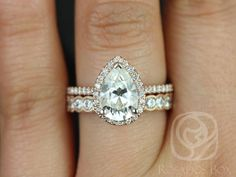 Tabitha 10x7mm & Cordelia 14kt Rose Gold Pear FB Moissanite and Diamonds Halo Wedding Set (Other metals and stone options available)