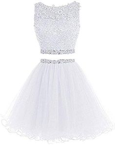 Lilibridal Two Pieces Short Beaded Prom Dress Tulle Applique Homecoming Dress - Fashion Ideas - Luxury Style Backless Homecoming Dresses, Two Piece Homecoming Dress, Cute Prom Dresses, Prom Dresses 2016, Beaded Prom Dress, Grad Dresses, Pretty Dresses, Formal Dresses, Dress Prom