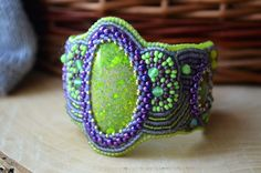 Green Purple Bracelet Bead Embroidered Jasper Bracelet Beadwork Bracelet Bead…
