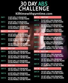 Get ready for summer and try the 30 Day Abs Challenge. Starting June 1! Here are the videos of each exercise, please click on each link... How to do a plank correctly (planks are done in seconds, for example Day 1 is a 10 second plank) http://youtu.be/3vgG_Zemg88 How to do a sit up correctly: http://youtu.be/1fbU_MkV7NE How to do crunches correctly: http://youtu.be/Xyd_fa5zoEU How to do leg raises correctly: http://youtu.be/JB2oyawG9KI