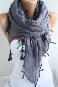 NEW Gray  Scarf  Shawl Scarf  Wrinkled Scarf Square by DIDUCI, $16.90
