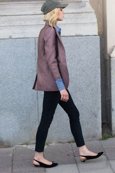 jacket, denim, flats, hat, fashion