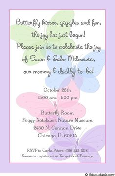 baby girl shower christian invitations | Purple Butterfly Shower Invitation - Pastel Wording