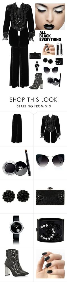 """""""All Black Everything"""" by kotnourka ❤ liked on Polyvore featuring M Missoni, Chanel, Judith Leiber, Giuseppe Zanotti, Incoco and Guerlain"""