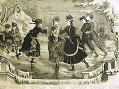 GIRL'S & BOY'S ICE SKATING SUITS 1873 Antique