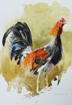 Pintura de Gallo de Pelea