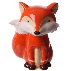 Money Box Fun Sitting Fox Ceramic Unique Gift by getgiftideas