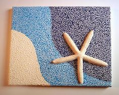 Cute 3D Canvas Art made with starfish and 3D paint. Cute for a bathroom.