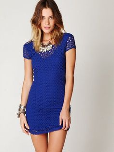 Free People Cap Sleeve Gypsy Lace Dress in Blue (royal) - great with leggings!