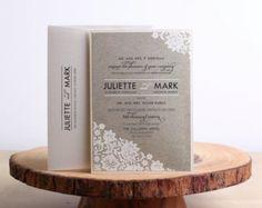 Invitaciones de boda, invitaciones de boda rústica, Kraft invitaciones de boda, invitaciones de boda de caligrafía, invitación de la boda elegante de encaje