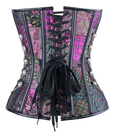 Charmian Women's Steampunk Gothic Spiral Steel Boned Brocade Waist Cincher Overbust Corset with Chains Purple Small at Amazon Women's Clothing store: