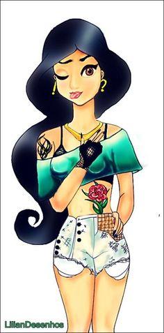 Disney Tattoo – Princess Jasmine o. Hipster Disney, Disney Punk Edits, Emo Disney Princess, Disney Princesses And Princes, Punk Princess, Princess Art, Tattooed Disney Princesses, Ariel Disney, Princess Tattoo