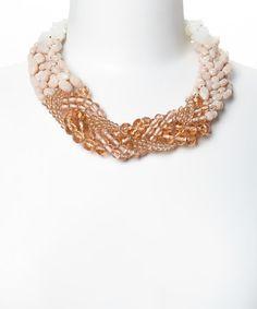 Loving this Pink & Cream Ombré Braid Necklace on #zulily! #zulilyfinds