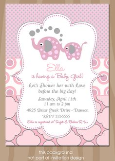 Elephant Baby Shower Invitation  Elephant Showers PINK by starwedd, $15.00