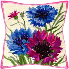 Blue Cornflowers-1 pillowcase cross-stitch DIY embroidery kit