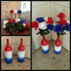 """Memorial day/4th of July vases using wine bottles, spray paint and dollar store flowers! I make these for every holiday. Super cute and super cheap ; ) Made by Taryn Mackey from """"Country at Heart"""""""