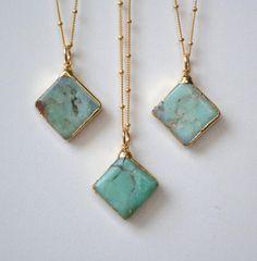 Éléctroformé Chrysoprase collier menthe / / / 24 carats or / /