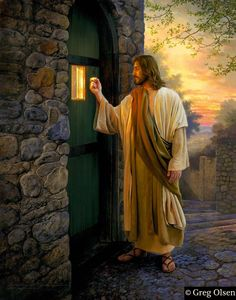 "Rev 3:20. ""I stand at the door and knock: if any man hear my voice, and open the door, I will come in to him."""