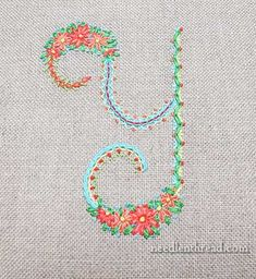 Floral Alphabet Sampler Monogram Y
