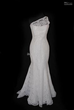 Wholesale One Shoulder Mermaid Trumpet Wedding Dress Lace Floor Length Bridal Gown, Free shipping, $122.08-143.36/Piece | DHgate