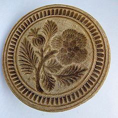 Early hand carved Butter Stamp/Mold with crisp beautiful detail of a traditional design.
