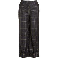 Petar Petrov Printed Wool Pants (£530) ❤ liked on Polyvore featuring pants, capris, black, wide leg cropped trousers, cropped capri pants, wide leg trousers, cuffed cropped pants and cropped trousers