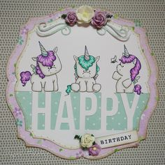 Girly birthday card with trio of Stamping Bella unicorns