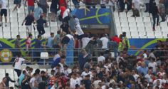 Russian fans charge at England fans inside Stade Velodrome after 1-1 draw (Videos)