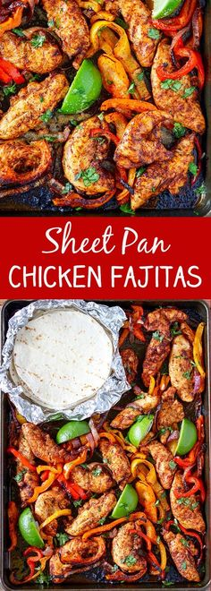 These Sheet Pan Chicken Fajitas are a snap to make and they are so delicious! Colorful bell peppers, red onions and chicken tenders simply tossed together.