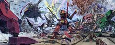 Tengen Toppa Gurren Lagann's (天元突破グレンラガン) beauty captured in these breathtaking illustrations by Yoh Yoshinari (吉成曜), Little Witch Academia director and mechanical designer for the series !