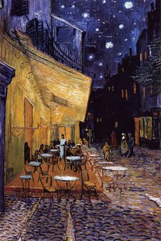 The Café Terrace on the Place du Forum, Arles, at Night, c.1888 by Vincent van Gogh Art Print