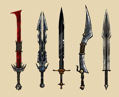 Concept Art- Seems to be from a game call Ascend: Hand of Kul Anime Weapons, Sci Fi Weapons, Medieval Weapons, Weapon Concept Art, Fantasy Weapons, Swords And Daggers, Knives And Swords, Cool Swords, Sword Design
