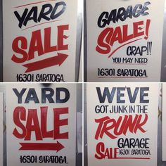 4 hand painted garage sale signs