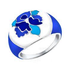 Sokolov Jewelry / Серебряное кольцо с голубыми узорами