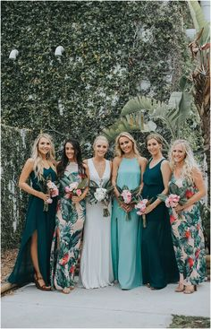 22 Chic Tropical Bridesmaid Dresses To Steal Bridesmaid Dresses beach bridesmaid dresses Printed Bridesmaid Dresses, Beach Wedding Bridesmaid Dresses, Beach Wedding Bridesmaids, Bridesmaid Dress Styles, Blue Bridesmaids, Different Bridesmaid Dresses, Blue Wedding, Summer Wedding, Wedding Gowns