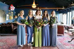 Steel blue bridesmaids - mix and match bridal jumpsuit Green Wedding Dresses, Mismatched Bridesmaid Dresses, Blue Bridesmaids, Ireland Wedding, Irish Wedding, Sister Wedding, Bridal Jumpsuit, Alternative Bride, Bridal Style