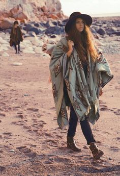 Another awesome poncho and hat - this will be me, come winter!