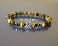 Tiger eye bracelet Mens infinity bracelet Men beaded bracelet Gold tiger eye & 925 sterling silver celtic knot Good luck and protection bracelet