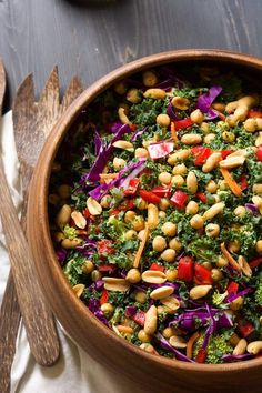 I cant wait to try this! This colorful and nutrient dense Power Kale Salad is filled with crunchy vegetables, drizzled with a peanut dijon dressing and topped with salty peanuts! The perfect salad to fuel you up! Healthy Salad Recipes, Vegetarian Recipes, Kale Power Salad, Clean Eating, Healthy Eating, Soup And Salad, Ethnic Recipes, Colorful, Kale Salads