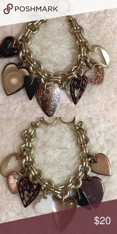 Cute fossil charm bracelet Chunky hearts Fossil Jewelry Bracelets