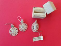 Carved Mother of Pearl Pendant and Earring Set. Made in Jeruselem. Marked: H. K. Jordan. 1950's by LeObjectUnique on Etsy