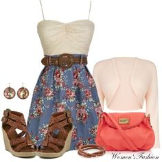 Cute and feminine outfit for summer.