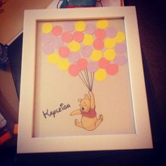 "Baby shower guest ""book"" in a frame. A name per balloon will serve the parents to be as a guest book of the shower. Disney/Winnie the Pooh nursery theme.   Pinterest success!!"
