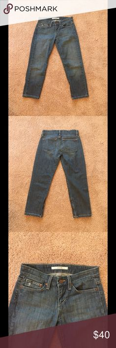 Joe's Jeans Chelsea Zip Capri Clayton wash, zipper on ankles, 5-pocket style. 98% cotton, 2% elastane. Made in USA. Machine wash cold. Joe's Jeans Jeans Ankle & Cropped