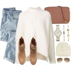 Wha I'd  Wear by monmondefou on Polyvore featuring moda, URBAN ZEN, Wrap, H&M, Michael Kors, FOSSIL, Uniqlo, Ray-Ban and Fall
