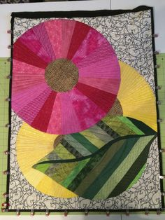 """Jenna's """"Hope Blooms"""" quilt after quilting and before binding.  No picture of the finished product."""