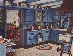 1949 was a big year for Colonial style. This ad for Armstrong linoleum flooring features gingham, painted cabinetry, and copper accessories. Source: Better Homes & Gardens